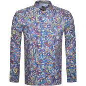 Pretty Green Paisley Long Sleeved Shirt Blue