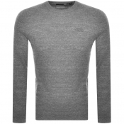 Superdry Crew Neck Orange Label Knit Jumper Grey