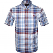 Fred Perry Tartan Short Sleeved Shirt Blue