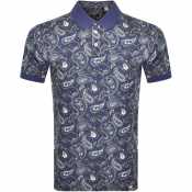 Pretty Green Paisley Polo T Shirt Navy