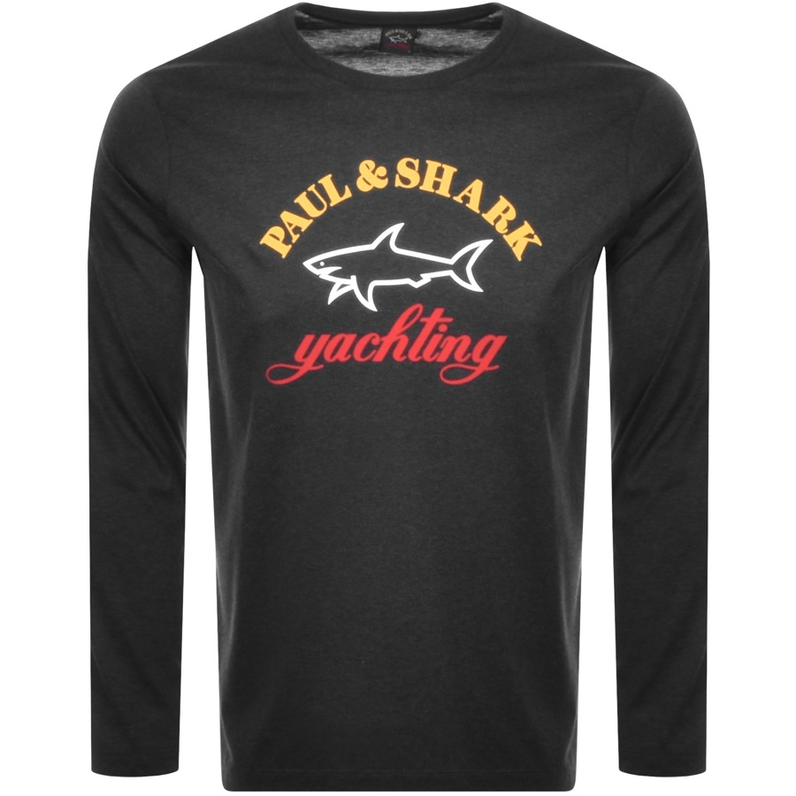 Paul And Shark Long Sleeve Logo T Shirt Grey