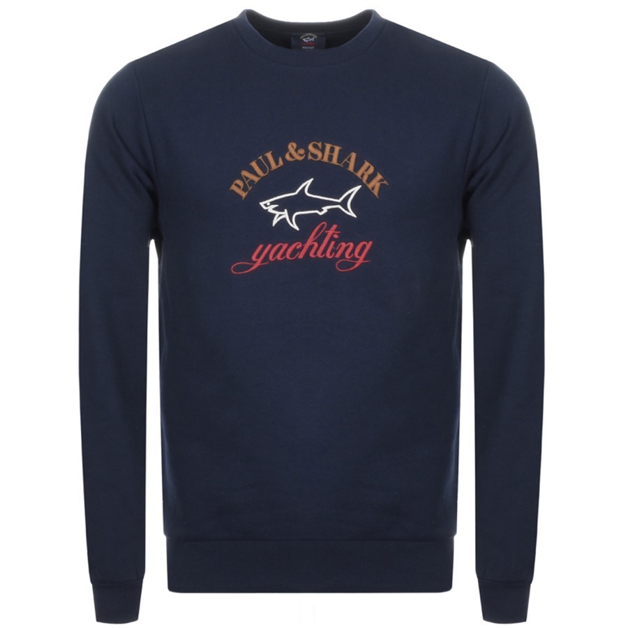 Paul And Shark Crew Neck Logo Sweatshirt Navy