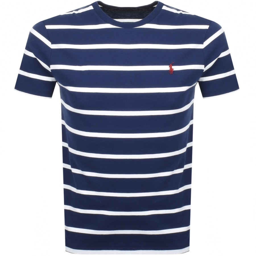 Ralph Lauren Logo Stripe T Shirt Navy