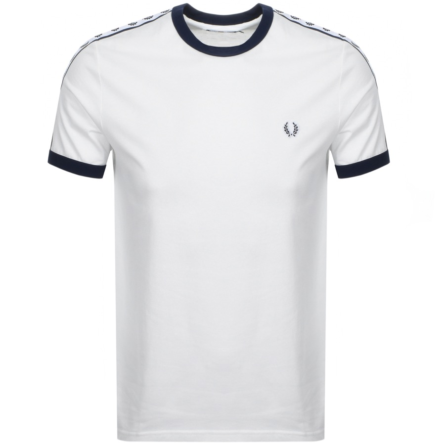Fred Perry Taped Ringer T Shirt White