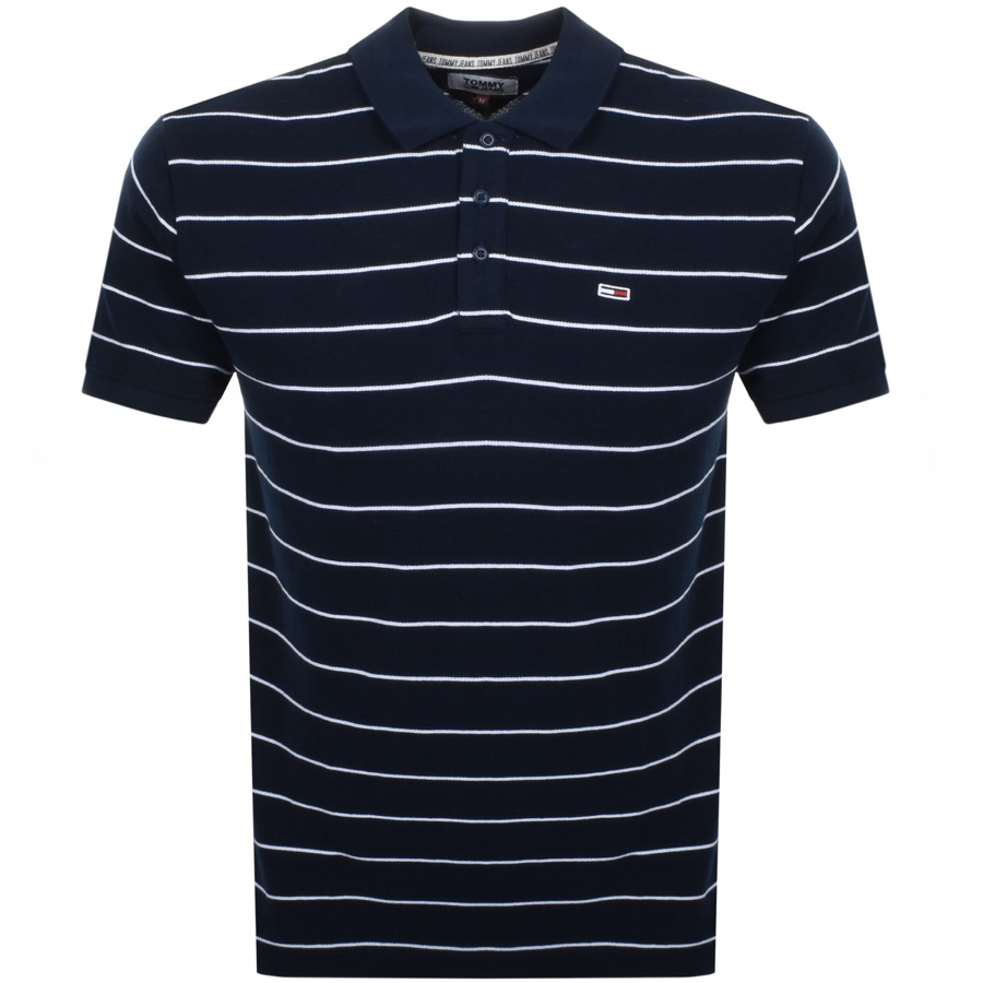 Tommy Jeans Essential Stripe Polo T Shirt Navy