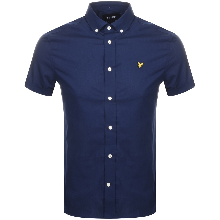 Lyle And Scott Short Sleeved Poplin Shirt Navy