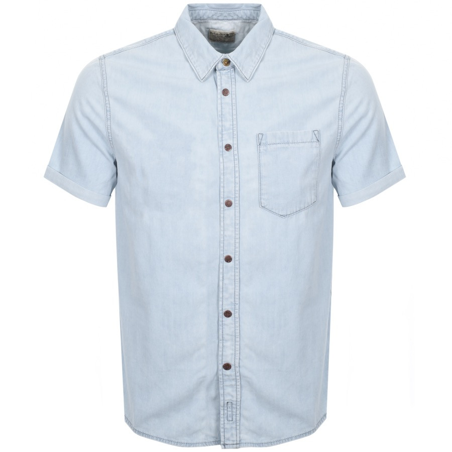 Nudie Jeans Short Sleeved Henrik Denim Shirt Blue