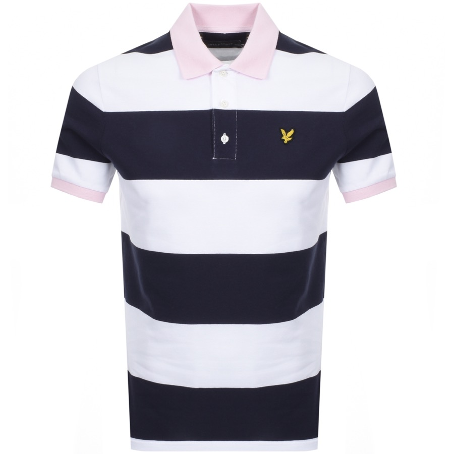 Lyle And Scott Wide Striped Polo T Shirt Navy