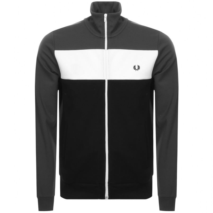 Fred Perry Colour Block Zip Track Top Grey