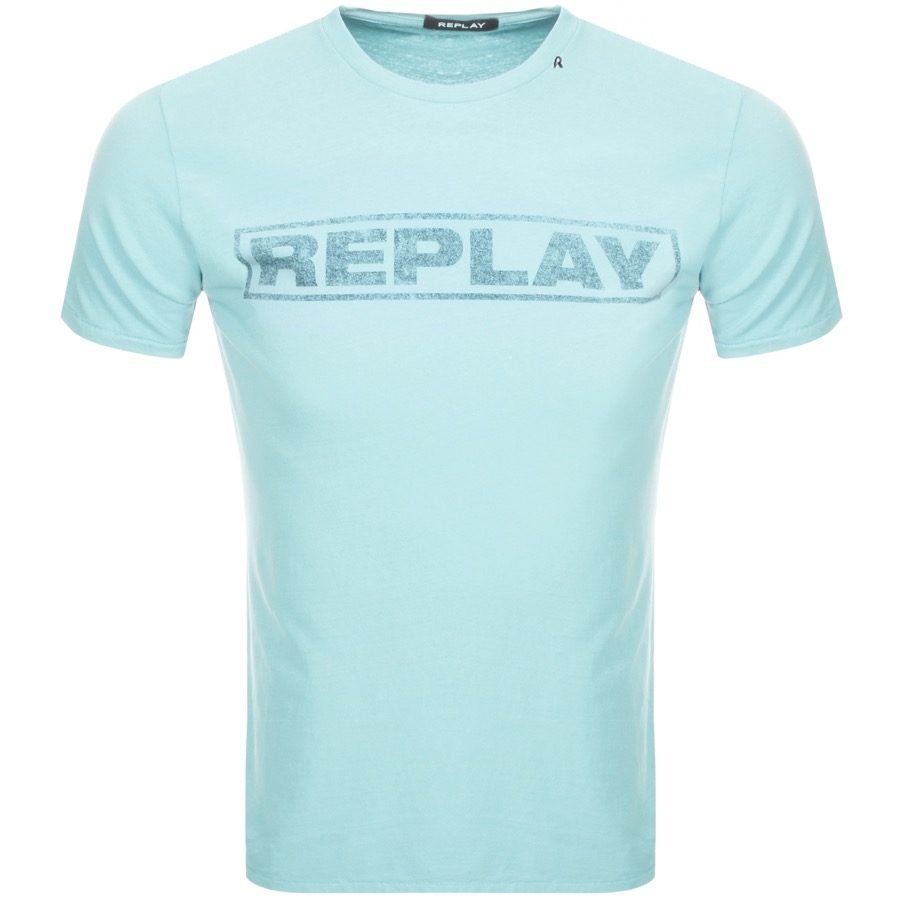 Replay Logo Crew Neck T Shirt Green