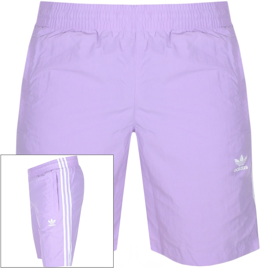 adidas Originals Three Stripe Swim Shorts Lilac