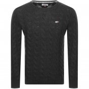 Tommy Jeans Crew Neck Cable Knit Jumper Grey