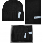 Calvin Klein Knit Hat And Scarf Gift Set Black