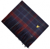Lyle And Scott Tartan Woven Scarf Navy