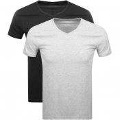 Emporio Armani 2 Pack V Neck Lounge T Shirts Black