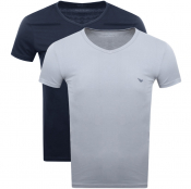 Emporio Armani 2 Pack V Neck Lounge T Shirts Navy