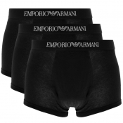 Emporio Armani Underwear 3 Pack Trunks Black