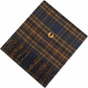 Fred Perry Black Winter Tartan Scarf Blue