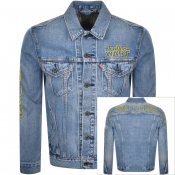 Levis X Star Wars Logo Denim Trucker Jacket Blue