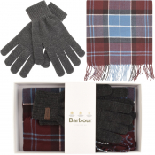 Barbour Scarf And Gloves Gift Set Purple