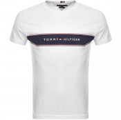 Tommy Hilfiger Chest Stripe Logo T Shirt White