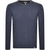 Pretty Green Cable Knit Jumper Blue