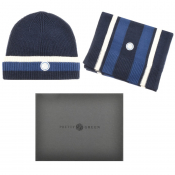 Pretty Green Beanie Hat And Scarf Gift Set Navy