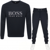 BOSS Bodywear Crew Neck Tracksuit Navy