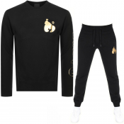 Money Max Gold Sig Ape Crew Neck Tracksuit Black