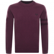 Fred Perry Crew Neck Knit Jumper Burgundy