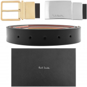 PS By Paul Smith Twin Buckle Leather Belt Black
