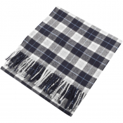 Gant Twill Checked Wool Scarf Navy