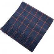 Gant Twill Checked Wool Scarf Blue