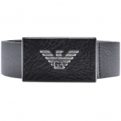 Emporio Armani Logo Leather Belt Navy