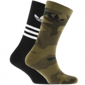 adidas Originals Two Pack Camo Crew Socks Black