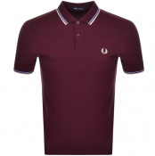 Fred Perry Twin Tipped Polo T Shirt Burgundy