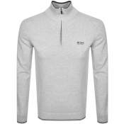 BOSS Athleisure Half Zip Logo Sweatshirt Grey