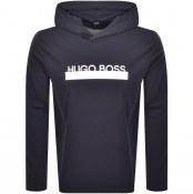 BOSS HUGO BOSS Hooded Long Sleeved T Shirt Navy