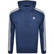 adidas Originals 3 Stripes Half Zip Hoodie Navy