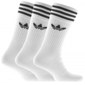 Adidas Originals Three Pack Solid Crew Socks White