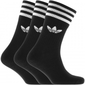 adidas Originals Three Pack Solid Crew Socks Black
