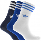 adidas Originals Three Pack Mid Crew Socks Blue