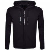 Armani Exchange Full Zip Logo Hoodie Navy