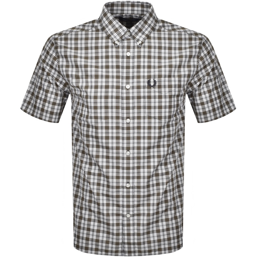 Fred Perry Small Check Short Sleeved Shirt Green