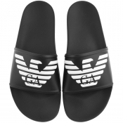 Emporio Armani Logo Sliders Black