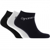 Emporio Armani 3 Pack Trainer Socks Black