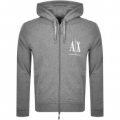 Armani Exchange Full Zip Logo Hoodie Grey