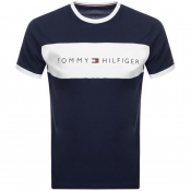 Tommy Hilfiger Lounge Logo Flag T Shirt Navy