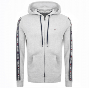 Tommy Hilfiger Lounge Taped Logo Zip Hoodie Grey