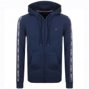 Tommy Hilfiger Lounge Taped Logo Zip Hoodie Navy
